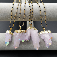 WT-N893 Hot Sale Healing Angel Aura Spirit Quartz Jewelry in 24k real gold plated with Black Beads Rosary Chain Pendant Necklace