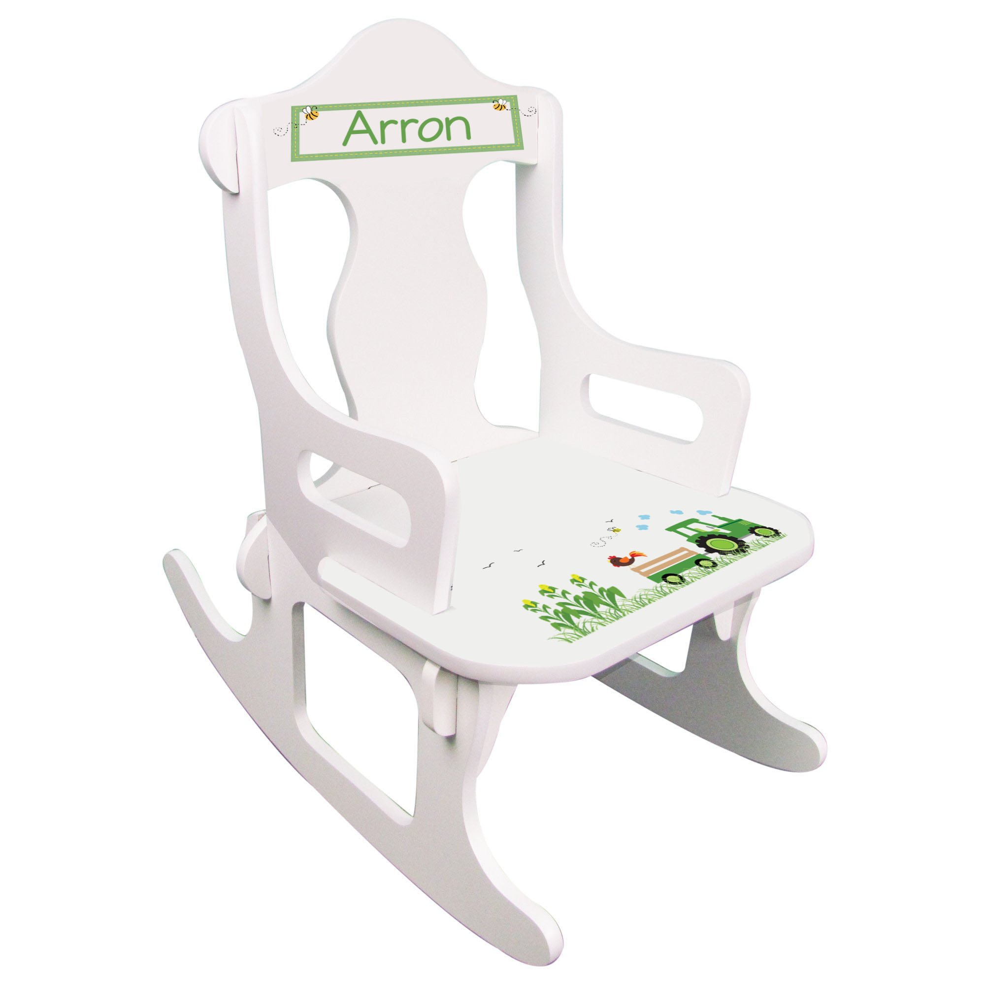 Personalized Green Tractor Puzzle Rocker