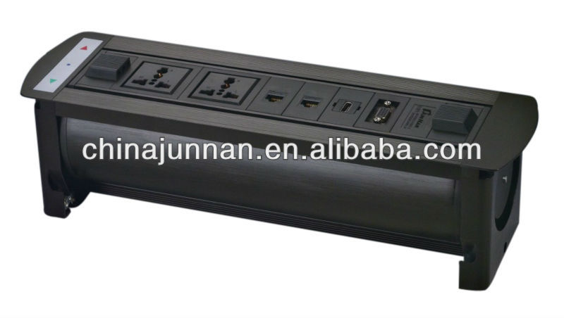 Tabletop electrical outlet multiple socket / schuko / HDMI / RCA / USB etc. for conference table