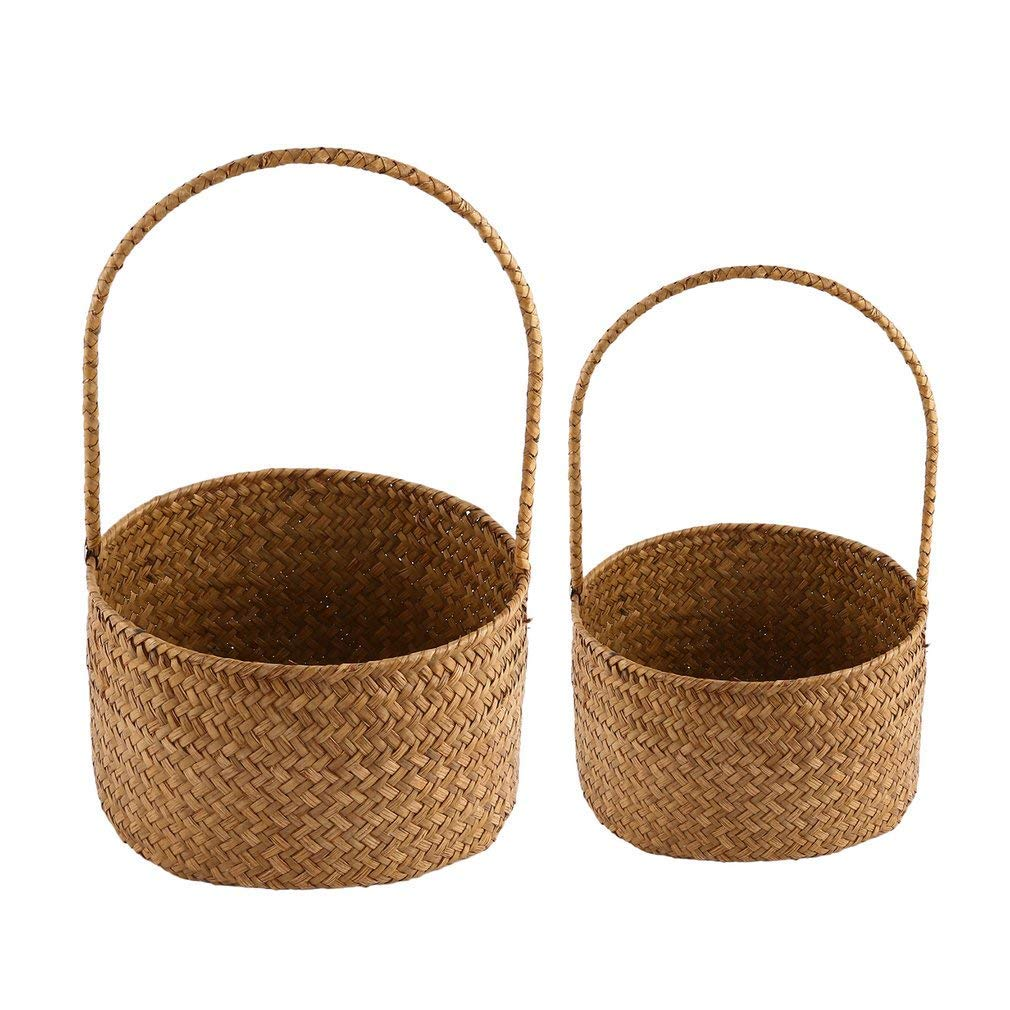 YCDC B 2pcs, Round Shape, Natural Seagrass Woven, Flower Basket, Handmade Tote Storage Basket, With Handles 2pcs Round Seagrass Woven Flower Basket Tote Storage Basket With Handles