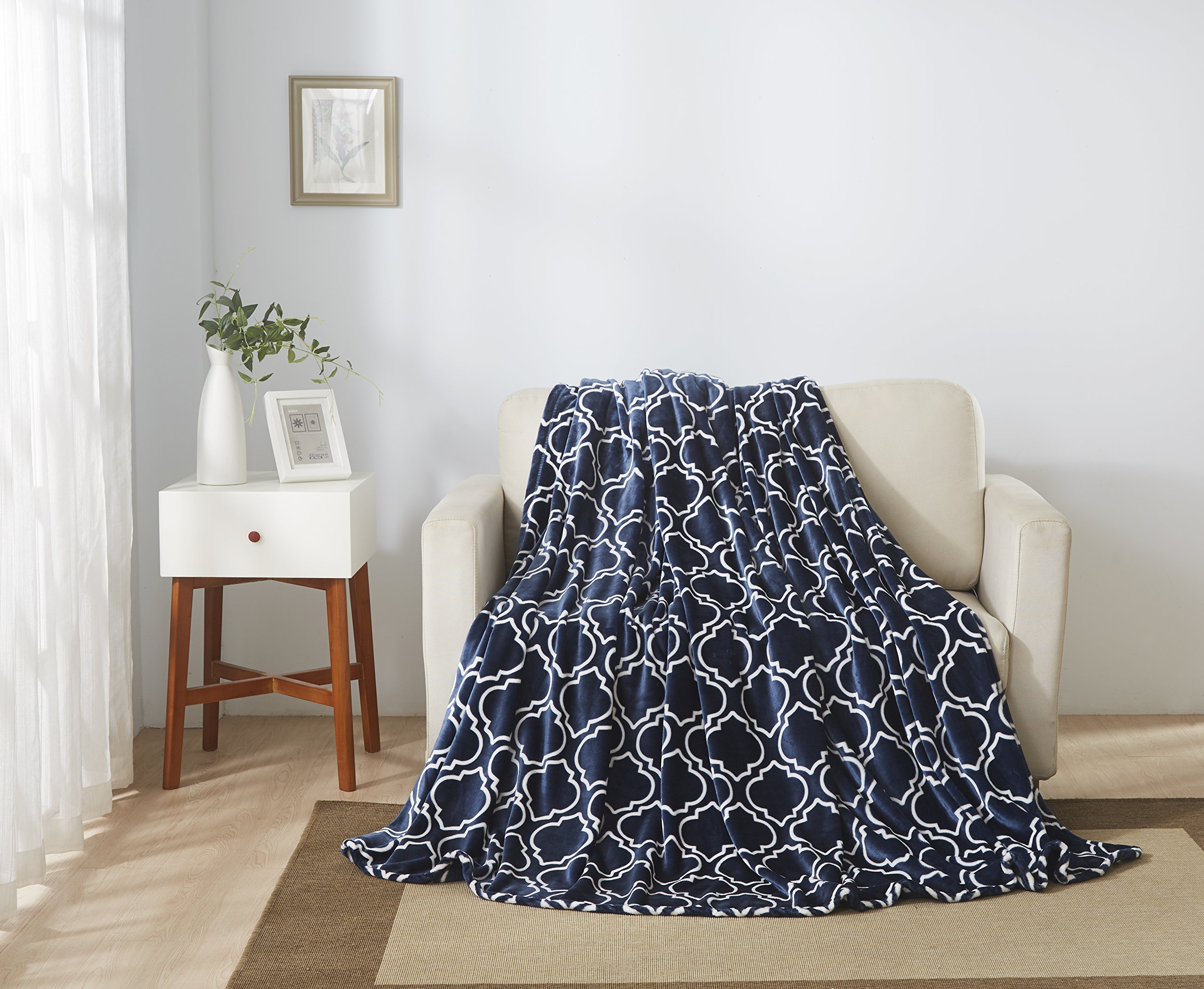 All American Collection New Super Soft Printed Moroccan Trellis Throw Blanket (Queen Size, Navy Blue)