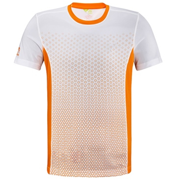Mens dri fit running shirts with sublimation printing blue for 4 color process t shirt printing