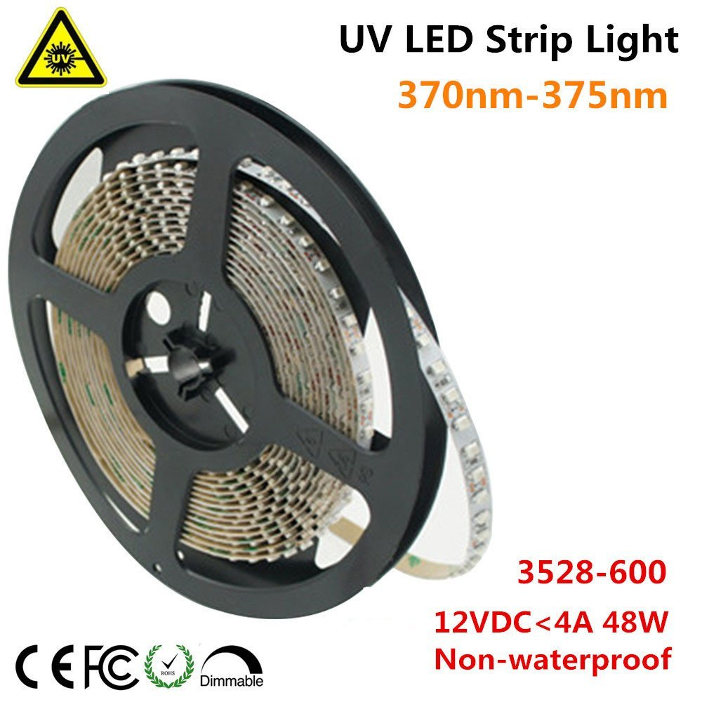 Ultraviolet LED Strip, LightingWill 370nm-375nm 16.4FT 48W 5M 12V SMD3528 600LEDs UV Ultraviolet Non-waterproof 8mm White PCB Flexible LED Strips 120LEDs 9.6W Per Meter, for UV Curing, Metal Crack