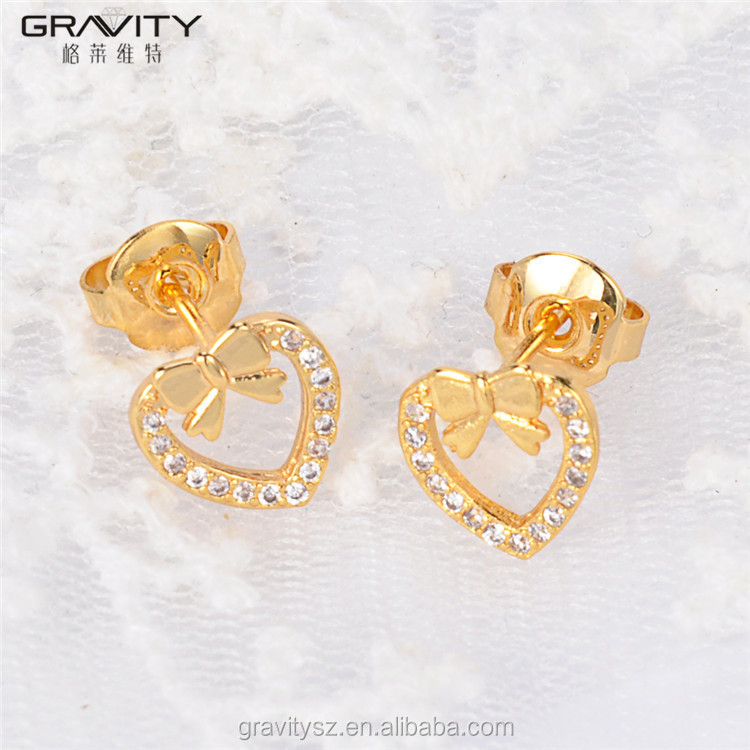 ESDG0009 small yellow gold filled stud earrings with white stone
