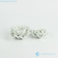 RZKW02 Hand build Jingdezhen white porcelain flower sculpture