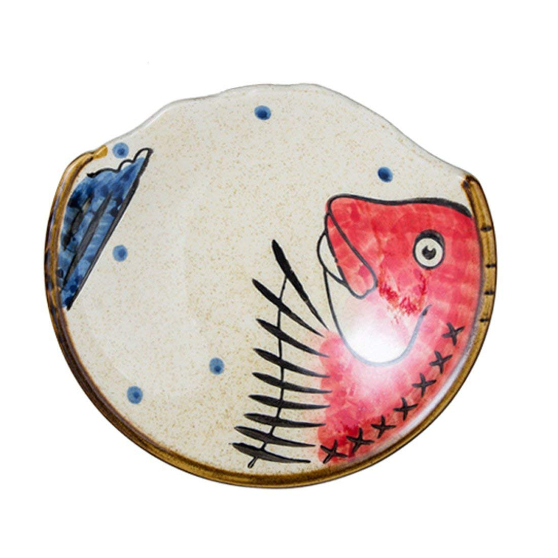 CoCoMe Half Noon Irregular Edge Hand Drawing Fish Ceramic Porcelain Dinner Breakfast Teatime Snack/Fruit/Salad/Dessert/Bread&Butter Plate Bowl Dish Gift for Friends