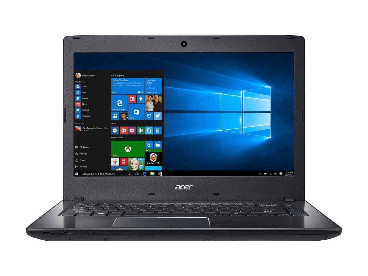 """2018 Acer TravelMate P2 TMP249 14.0"""" HD Business Laptop Computer, Intel Core i5-6200U up to 2.80GHz, 8GB DDR4, 500GB HDD, DVD-Writer, 802.11ac, TPM 1.2, USB 3.0, HDMI, Windows 10 Professional"""