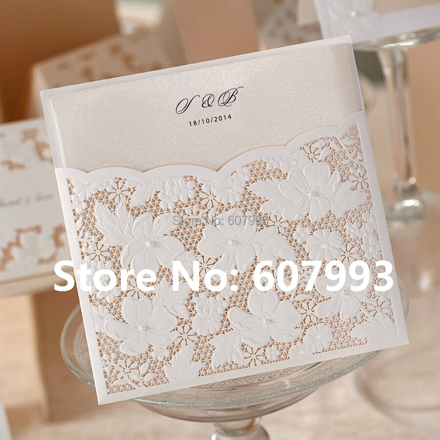 Floral Wedding Card Manufacturer From Hosur: Aliexpress.com : Buy Laser Cut Flower Lace Pocket Wedding
