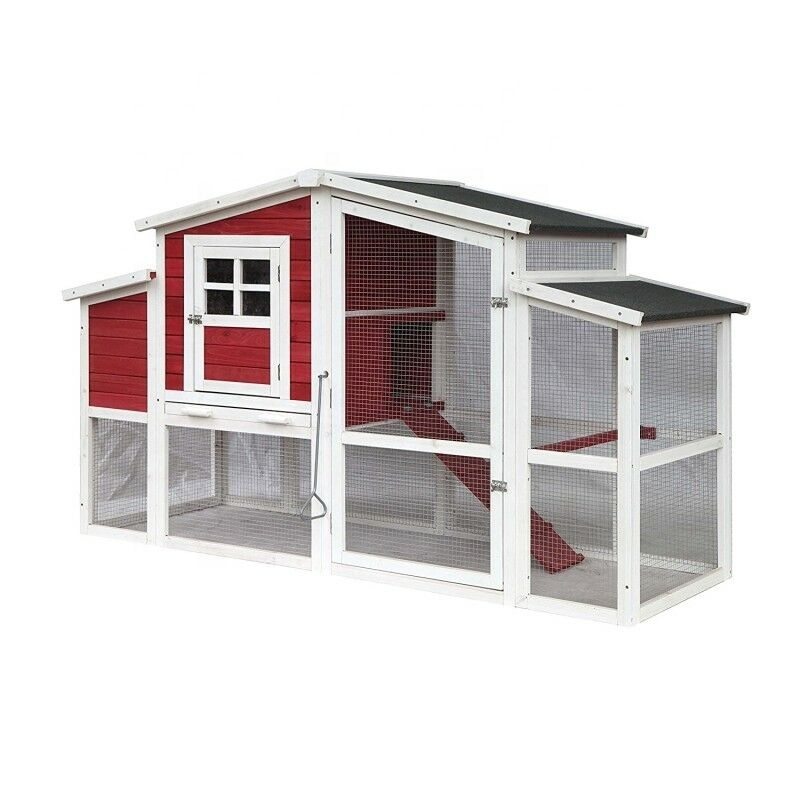 Multi Level Barn Style wooden Chicken Coop Rabbit Hutch covers with Divided Nesting Area