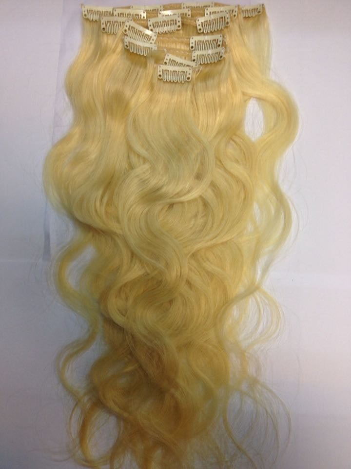 Remy human hair clips extentions 22 inch russian perm clip in hair
