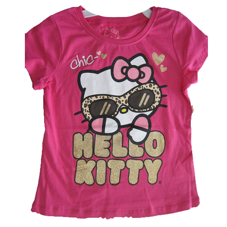 994e34e4f Hello Kitty Little Girls Fuchsia Glitter Letters Leopard Spot T-Shirt 4-6X