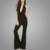High Quality Bar Accented Halter Jumpsuit V neckline Black Romper For Female