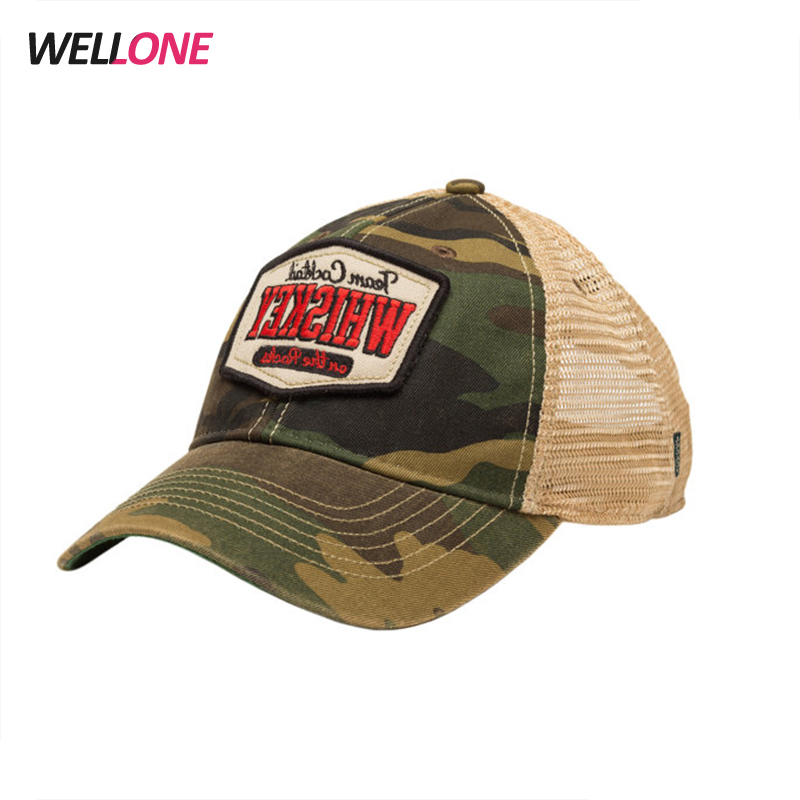 Design your own logo nylon mesh two tone bleach distress style embroidery  different pattern unisex trucker cap 9b510eb7d89