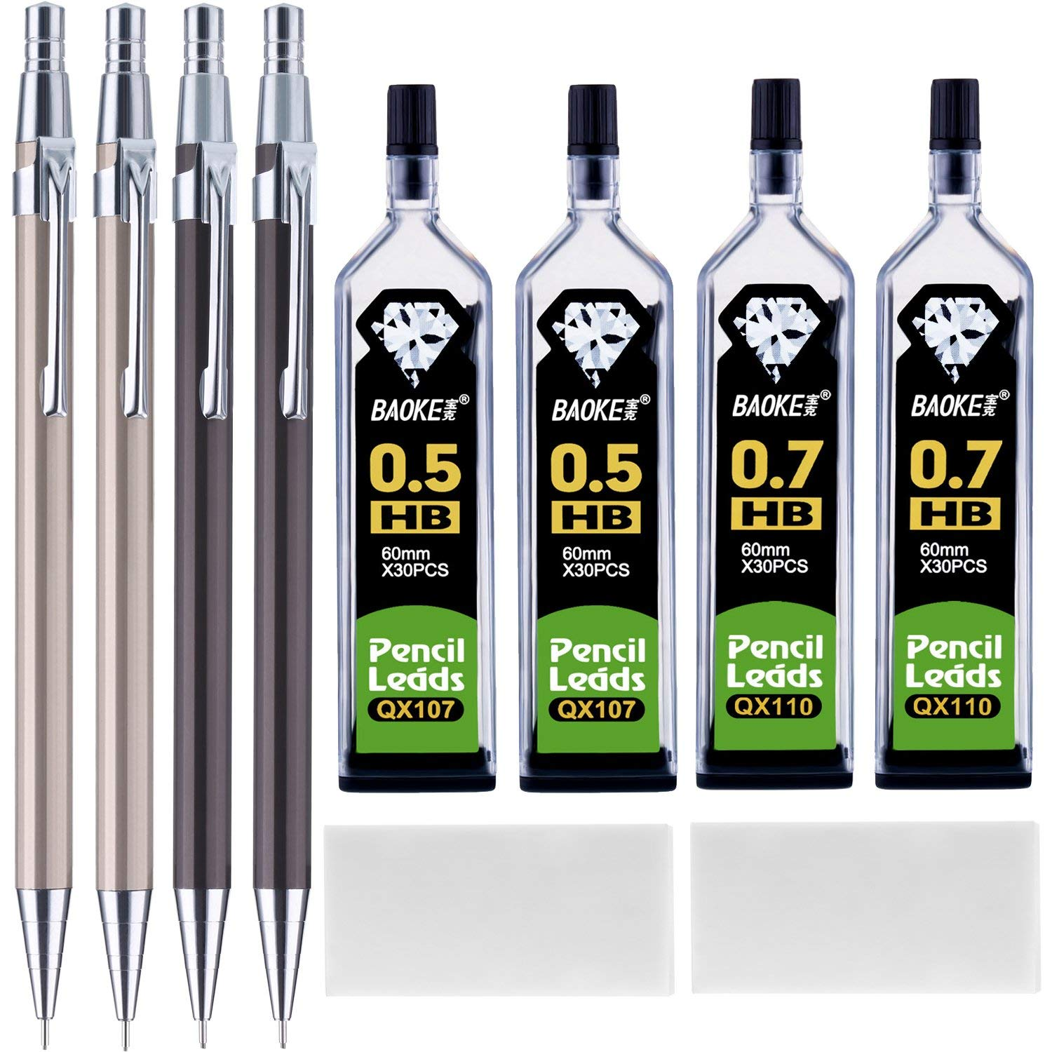 Bememo 10 Pieces Mechanical Pencil Set 0.5 mm 0.7 mm Mechanical Pencils with HB Lead Refills and Erasers for Drafting, Art Projects and General Writing