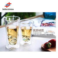 No.1 Yiwu Agent ,1% Commission! High quality handmade borosilicate clear double wall heat resistant handless glass tea cup