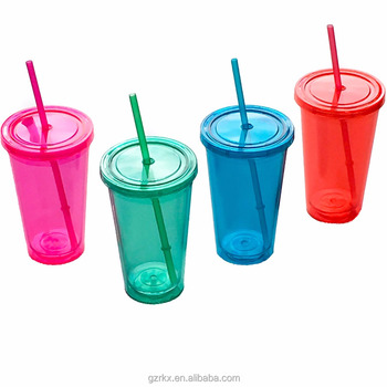 Whole Customized Plastic Cup With Lid And Straw Acrylic Double Wall Beverage Clear
