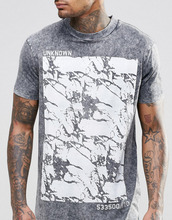 Longline T-Shirt With Crack Print And Acid Wash