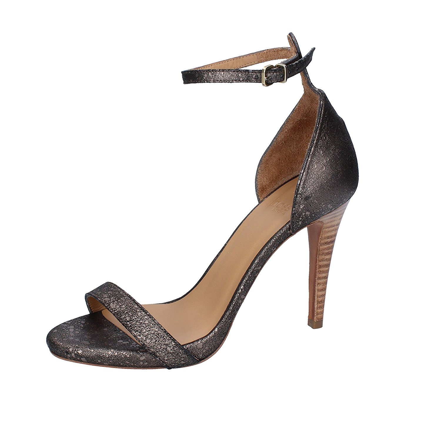 9bbb69c10ac Get Quotations · HOSS Sandals Woman 6 US  36 EU Gray Anthracite Leather  Suede