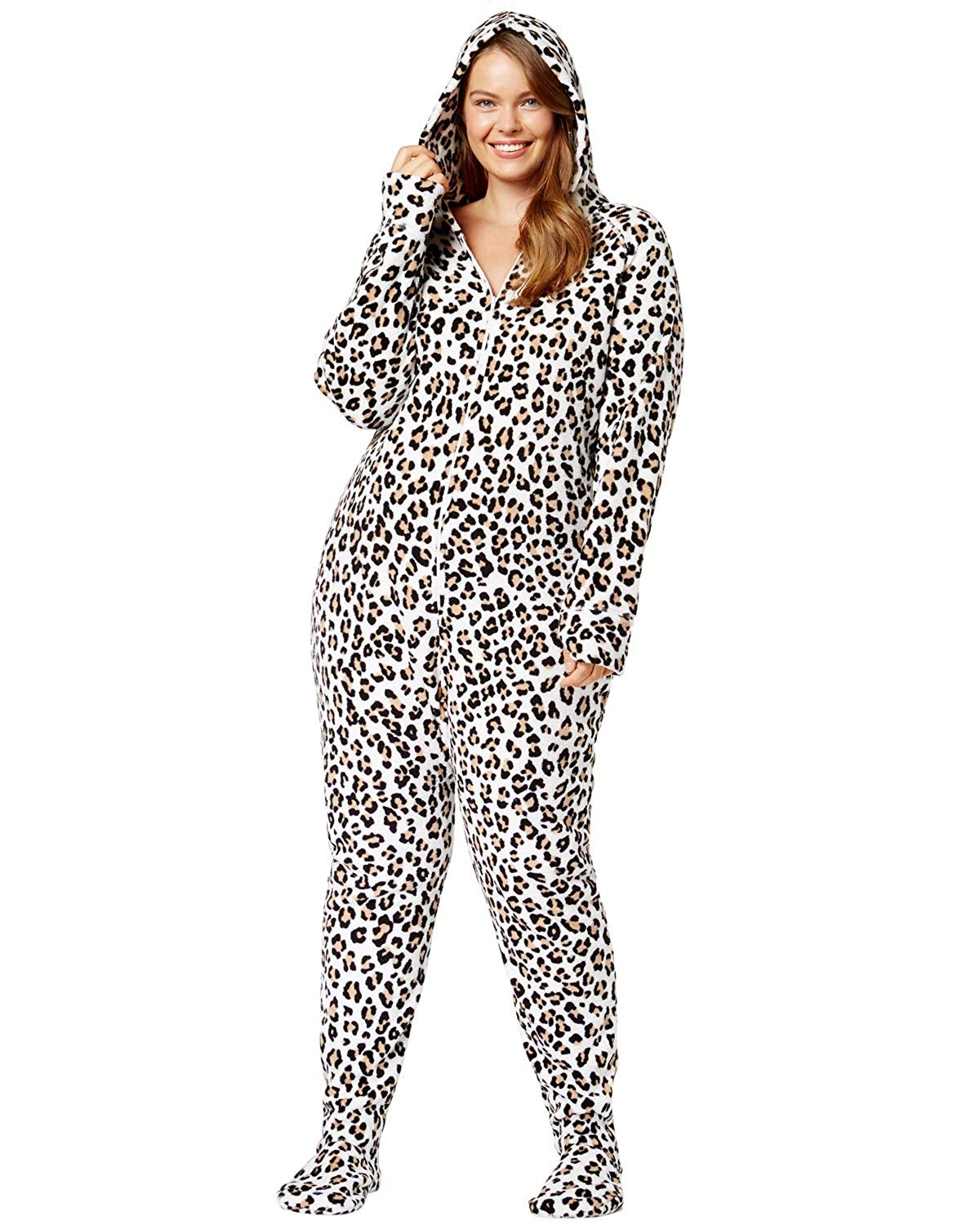 f232d4f541c Jenni by Jennifer Moore Plus Size Hooded Printed Footed Jumpsuit 2X Leopard