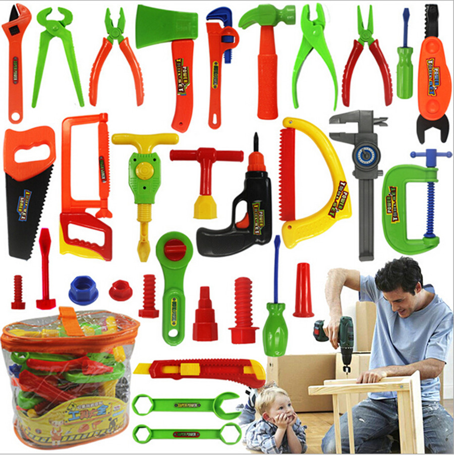 34pcs baby educational toys tool kit children play house classic plastic toy kids tools hammer. Black Bedroom Furniture Sets. Home Design Ideas