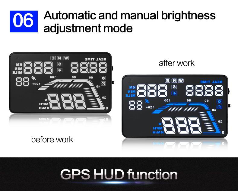 "New 5.5"" screen Head Up Displayer with GPS Q7 car HUD OBD II alarm warning system with OBD2 universal overspeed warning HUD"