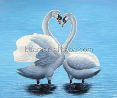 handmade oil painting swans frame Stretched Canvas Oil Painting