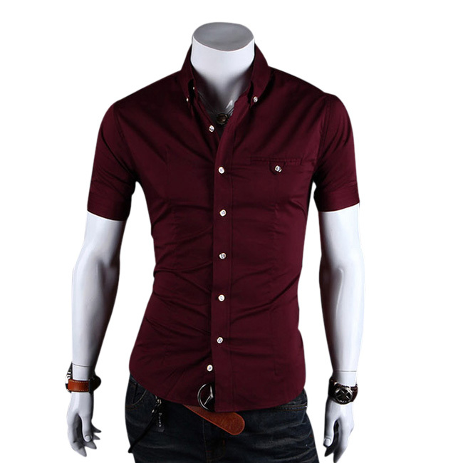 2015 New Mens Shirt Summer Short Sleeve Shirt Neckline Cotton camisa masculina Slim Fit For Man Clothes Shirt Camisa Homme Drop