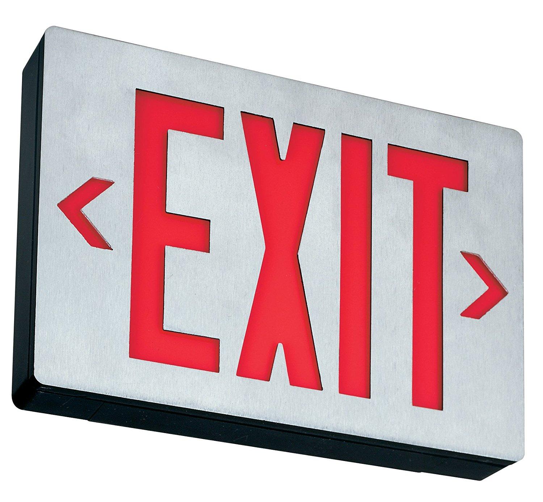 Lithonia Lighting LE S 1 R EL N Aluminum LED Emergency Exit Sign