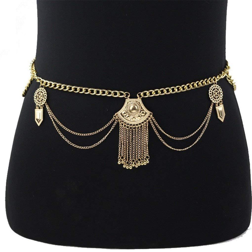 37d7ffdaf2 Get Quotations · Harmily Vintage Dangle Tassel Body Chain Crossover Harness  Adjustable Bikini Belly Chain Body Chain Bikini Necklace