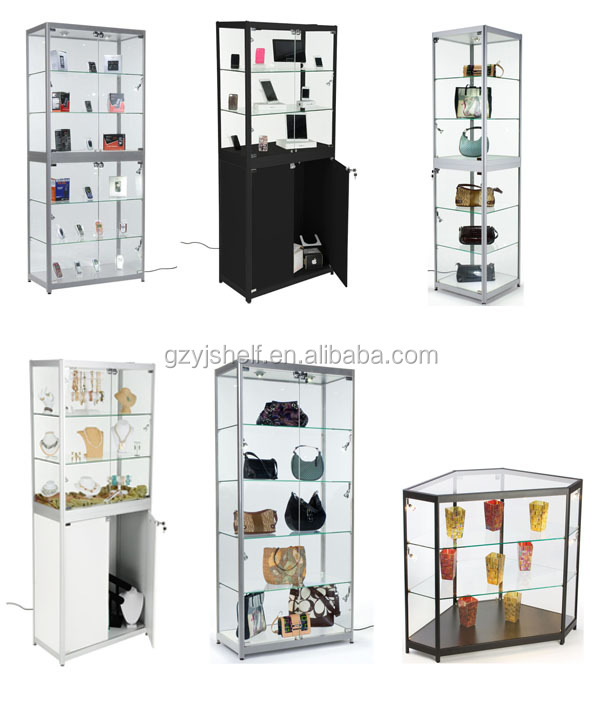 Price Crystal Display Free Standing Hexagon Corner Gl Cabinet