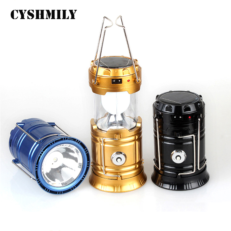 Waterproof portable outdoor led camping 6LED 1W Emergency Lamp Rechargeable Battery Portable fishing lights solar led lantern
