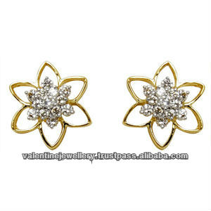 Flower Design Diamond Earrings Yellow Gold Jewellery Supplier Star Shaped Stud Las Tops Latest In Product On