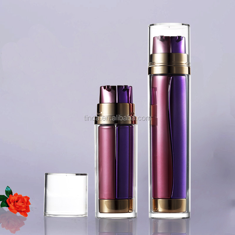 Hot Stamping Empty Dual Chamber Plastic Cosmetic Serum Airless Bottle