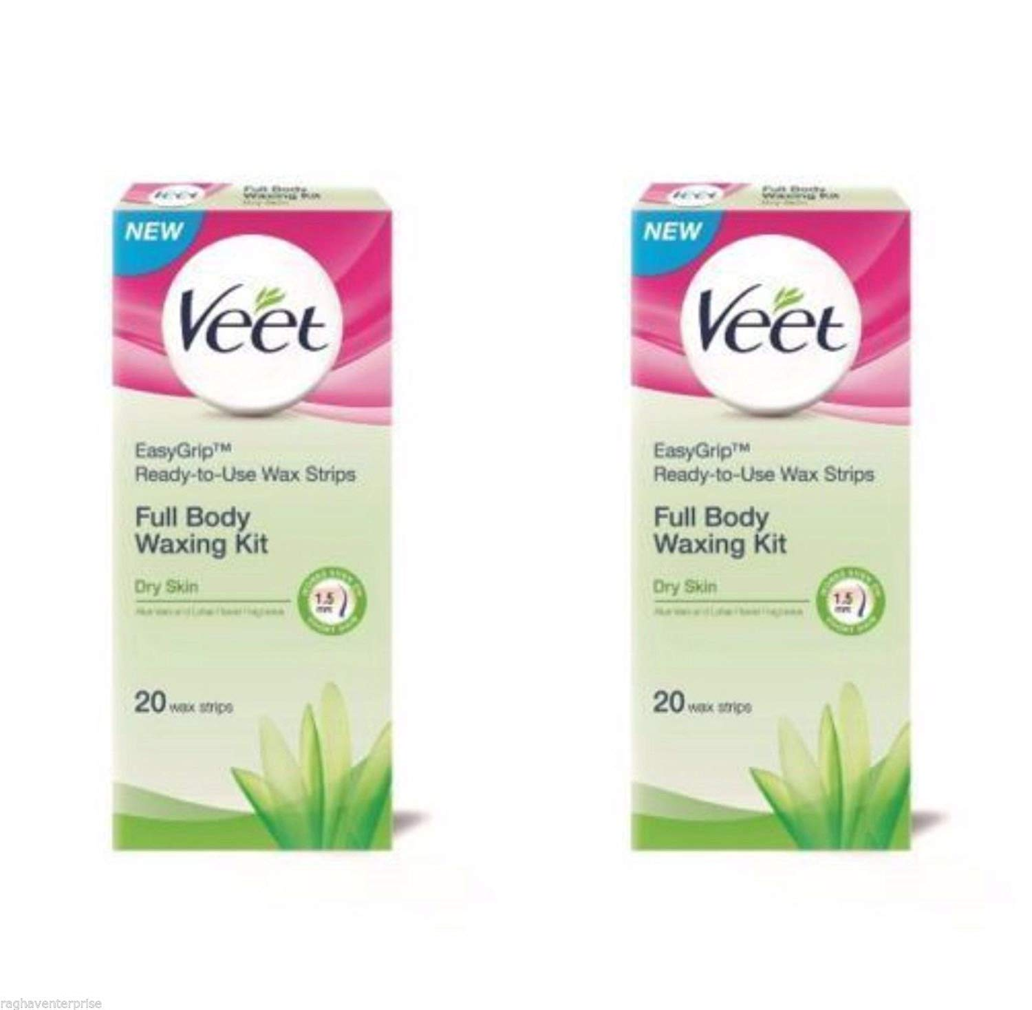 2-X-Veet-Ready-To-Use-Wax-Strips-Full-Body-Waxing-Kit-For-Dry-Skin