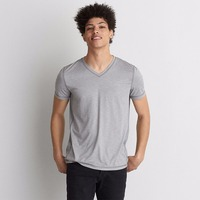 Polyester dry fit sports plain v-neck lightweight T-shirt for man