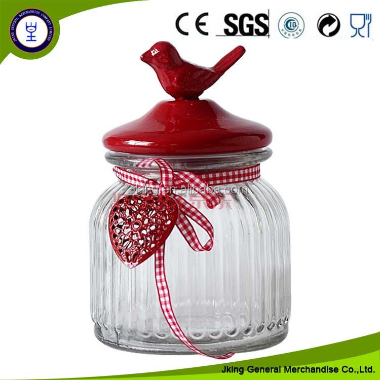 Decorative Storage Glass Jar With Bird Lid Buy Glass Jar With Bird Beauteous Decorative Glass Storage Jars