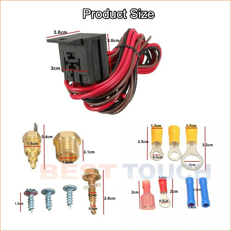 "new 200~185 degree electric radiator engine fan thermostat temperature switch 50 amp relay 3/8"" thread kit"