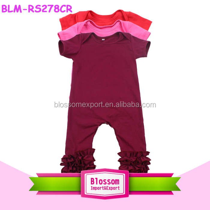 Baby clothes climb body suit wholesale knit cotton romper long raglan sleeve green icing ruffle baseball one piece tee