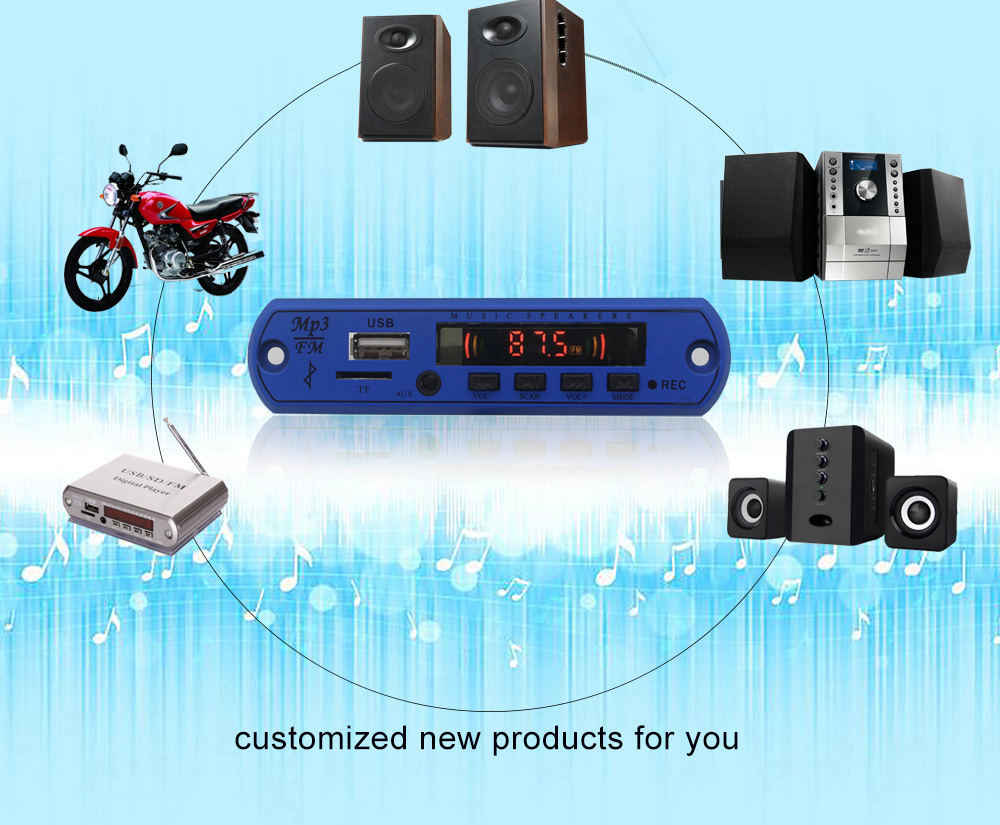 USB Bluetooth FM Audio MP3 Modulo, Ricevitore Audio Bluetooth Bordo