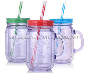 colorful glass mason jar with straw hot selling