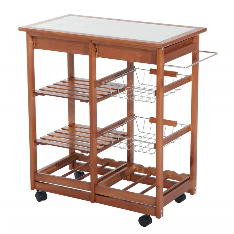 Natural bamboo rolling kitchen storage cart with wheels 9
