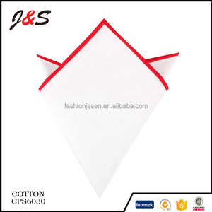 wholesale high quality custom pure cotton handkerchief white with stitch