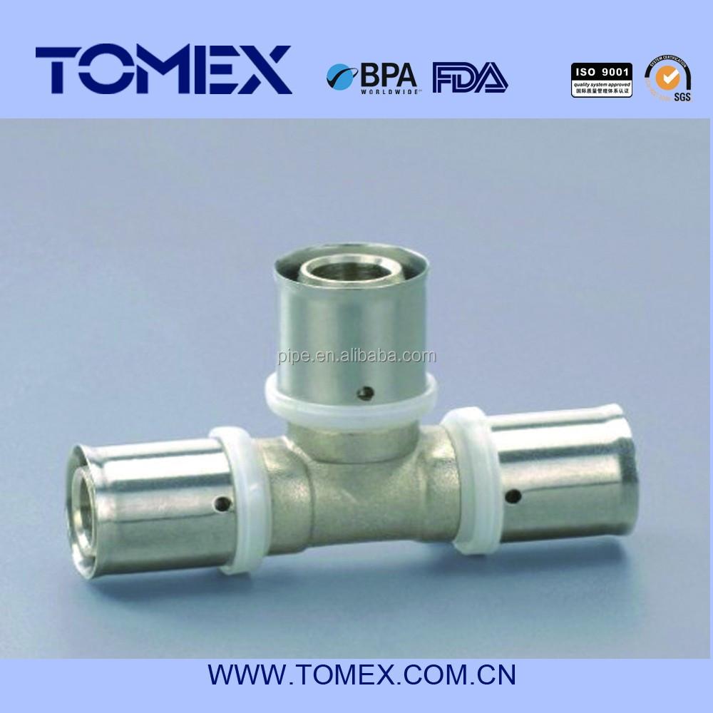 Pex copper press fitting for pex al pex composite pipe for Come collegare pex pipe al rame
