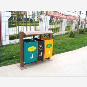Outdoor metal garbage compartment recycled waste bin box