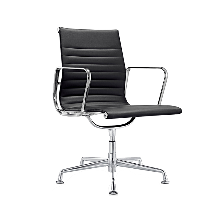 Ribbed mid back pu executive swivel office chair no wheels