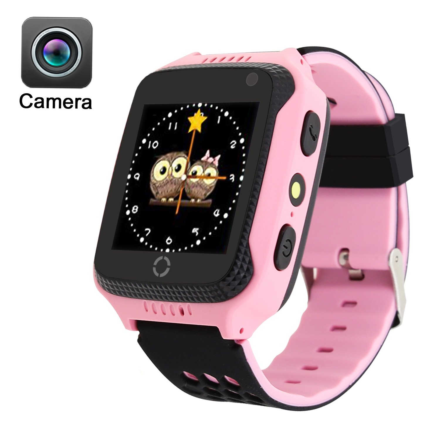 Kid Smart Watch, Mictchz Kids GPS Tracker Smart Watch with Camera SIM Calls SOS Anti-lost GPS + LBS Smart Watch for Children Boys Girls for Android iPhone Smart Watch (Pink ( Camera ))