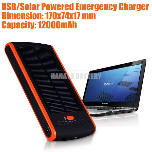 19V Portable Solar Power Bank 12000mAh Emergency Charger for Laptop /Samsung /LG /HTC /MP3 /MP4 - Orange