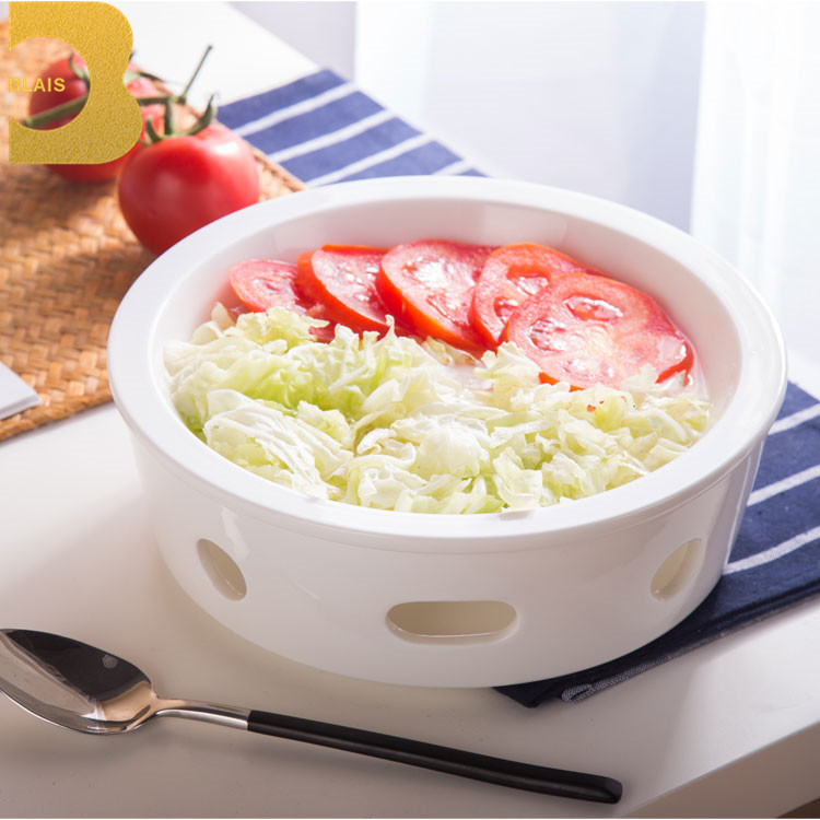 durable hotel white 23cm round dish with candle stand crockery restaurant