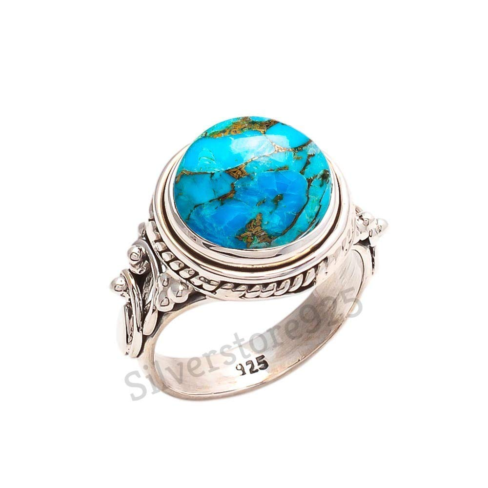 925 Sterling Silver Blue Copper Turquoise Ring - Turquoise Stone Gemstone Ring For Girl Women Gift Ring Size 4 5 6 7 8 9 10 11 12 13 14 15 16