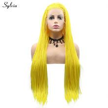 Sylvia натуральные парики для волос, теплый цвет, синтетические парики на кружеве, красный, желтый, лавандовый, фиолетовый, плетеная коробка Пл...(Китай)